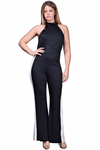 Women's Plus Size Black Sleeveless Jumpsuit Nyteez