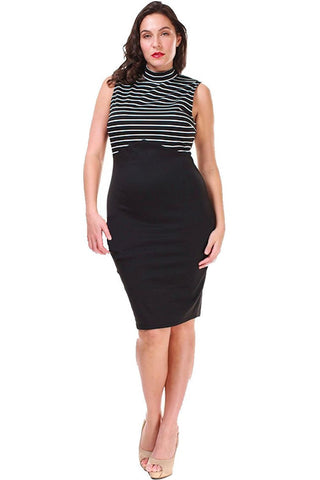 Women's Plus Size Black Sleeveless Retro Style Dress Nyteez