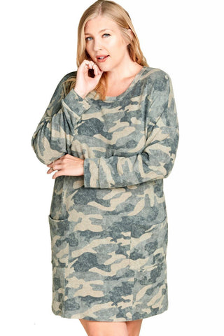 Women's Plus Size Camouflage Brushed Knit Lounge Dress Nightgown Nyteez