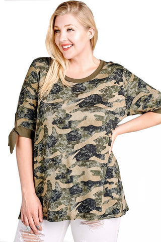 Women's Plus Size Camouflage Knit Tunic Top with Tie Sleeves Nyteez