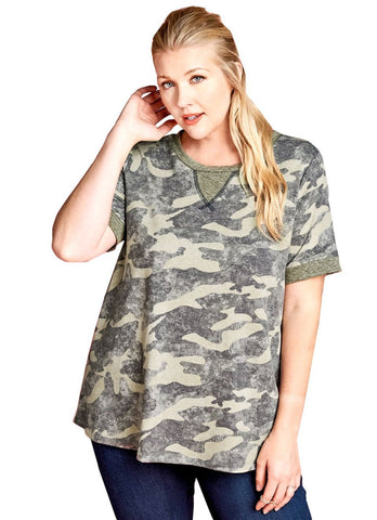 Women's Plus Size Camouflage Short Sleeved Knit Tunic Top Nyteez