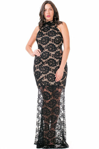 Women's Plus Size Long Black Lace Mermaid Gown Sleeveless Symphony