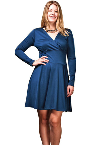 Women's Plus Size Long Sleeve Skater Dress Nyteez
