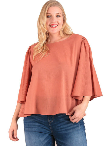 Women's Plus Size Scoop Neck Top with Wide 3/4 Sleeves Symphony