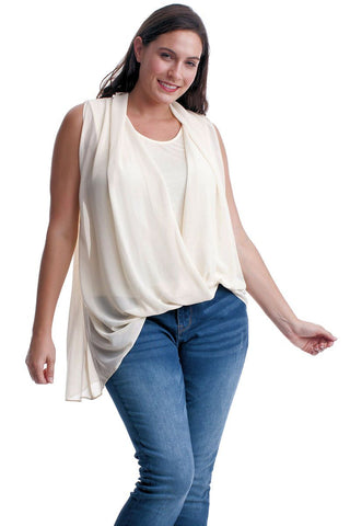 Women's Plus Size Sleeveless Chiffon Layered Top in Black or Ivory Symphony