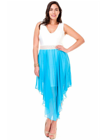 Women's Plus Size Sleeveless Dress with Pearl Waistline and Chiffon Skirt Symphony