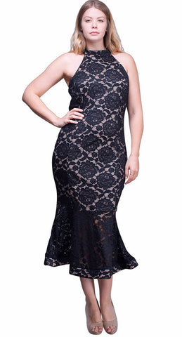 Women's Plus Size Stretch Lace High Neck Mermaid Dress Symphony