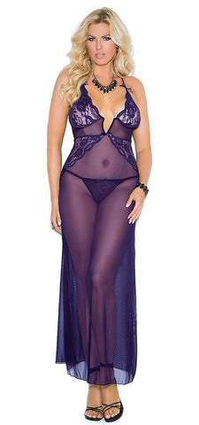 Women's Purple Amethyst Sheer Lace and Mesh Long Nightgown Elegant Moments