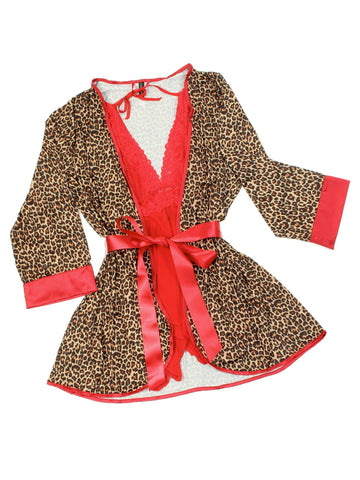Women's Red Lace Babydoll Nightgown with Cheetah Robe Cover up Nyteez