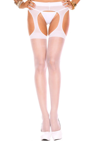 Women's Sheer Crotchless Suspender Pantyhose Collection Music Legs