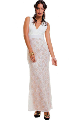 Women's Sleeveless Boho V-Neck Lace Maxi Dress Symphony
