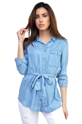 Women's Tencel Light Wash Denim Long Sleeved Tunic Top Iris