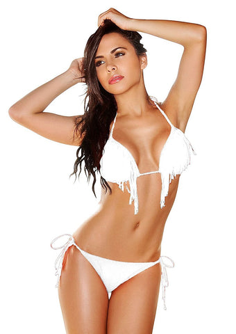 Women's Two Piece Fringe Triangle Top Swim Bikini Set Shelby Swim