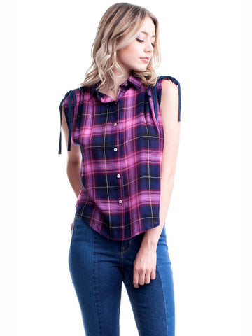 Women's Western Plaid Button Up Cap Sleeved Blouse Nyteez