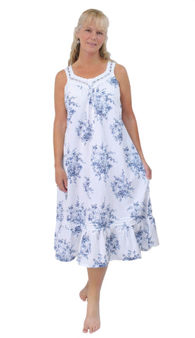 Women's White Cotton with Blue Floral French Toile Nightgown La Cera