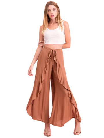 Women's Wrap Around Look Tie Front Palazzo Pants Symphony