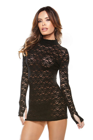 Womens Sexy Lace Turtle Neck Long Sleeved Mini Dress Fantasy Lingerie