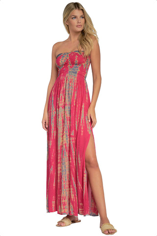 ELAN Strapless Tie Dye Maxi Cover up Dress