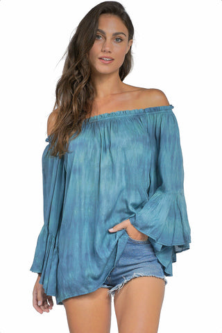 ELAN Off-Shoulder Flutter Sleeve Tunic Top Beach Cover Up