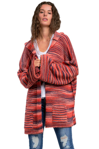 Elan Red Chunky Knit Cardigan Sweater Hoodie