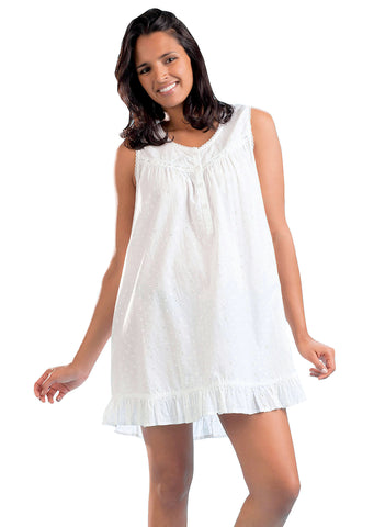 100% White Cotton Eyelet Short Nightgown Chemise Babydoll
