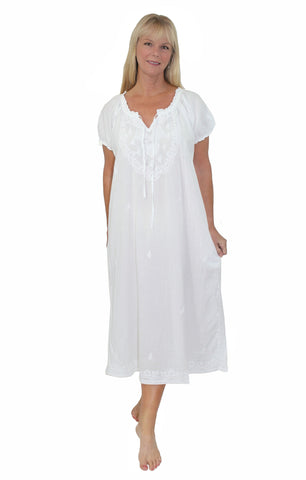 La Cera White Cotton Puff Sleeve Long Nightgown