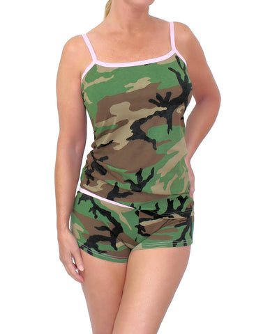 Pink Trimmed Camouflage Boy Short and Camisole Top Set
