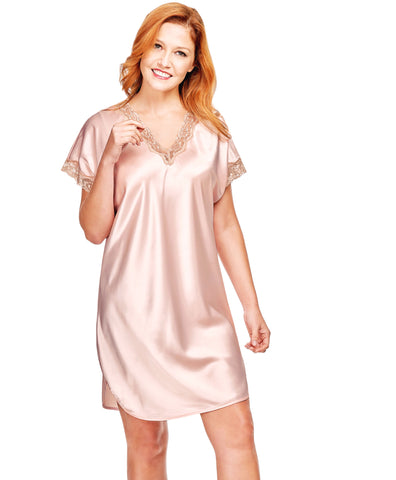 Shadowline Charming Satin Charmeuse Nightgown Sleep Shirt 4503