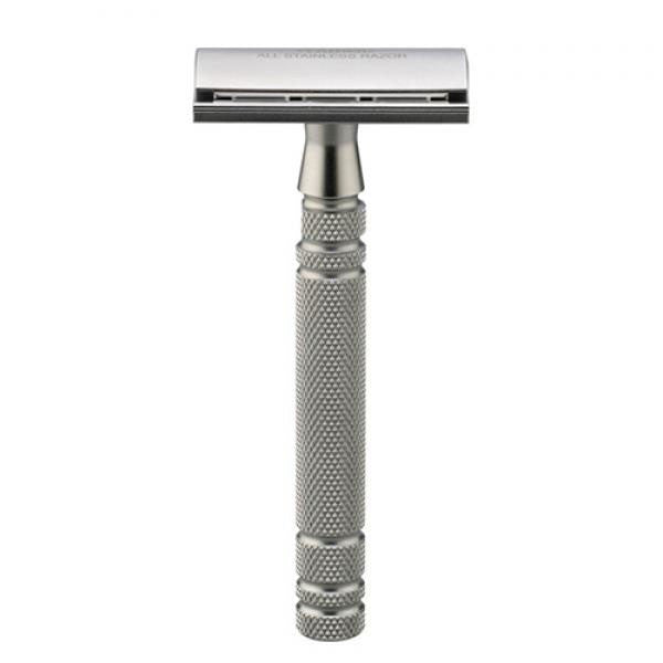 Feather All Stainless Steel Double Edge Safety Razor W/Stainless Steel Stand (AS-D2S)
