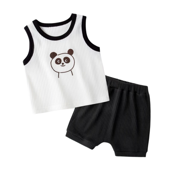 Ribbed Cotton Sleeveless Set Panda