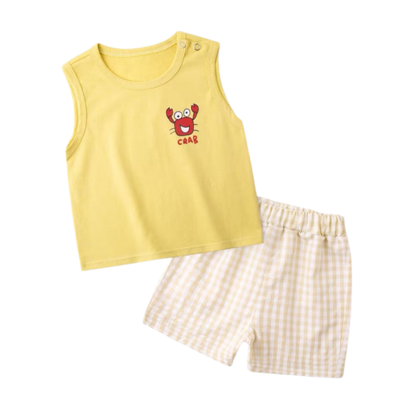 Checkered Shorts Sleeveless Set Crab