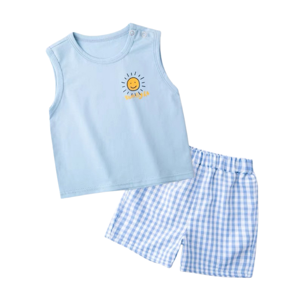 Checkered Shorts Sleeveless Set Sun