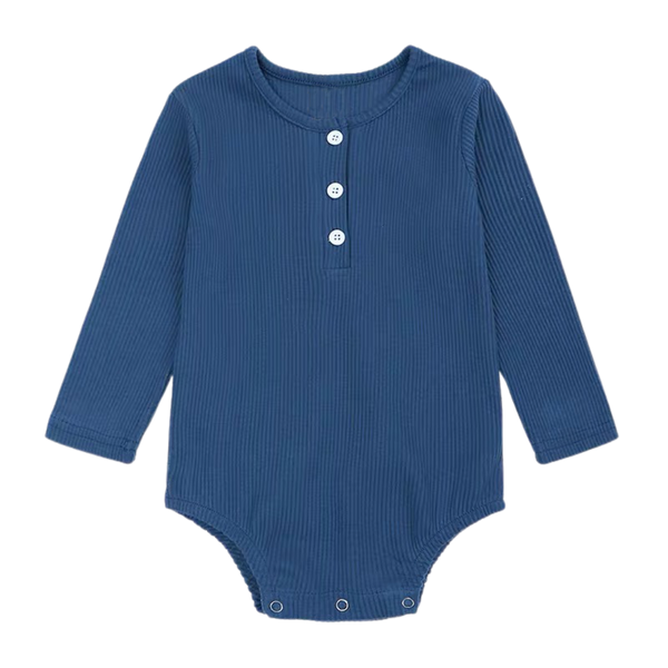 Ribbed Cotton Long Sleeve Bodysuit Oxford Blue