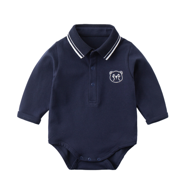 Gabe Bear Collared Bodysuit Navy