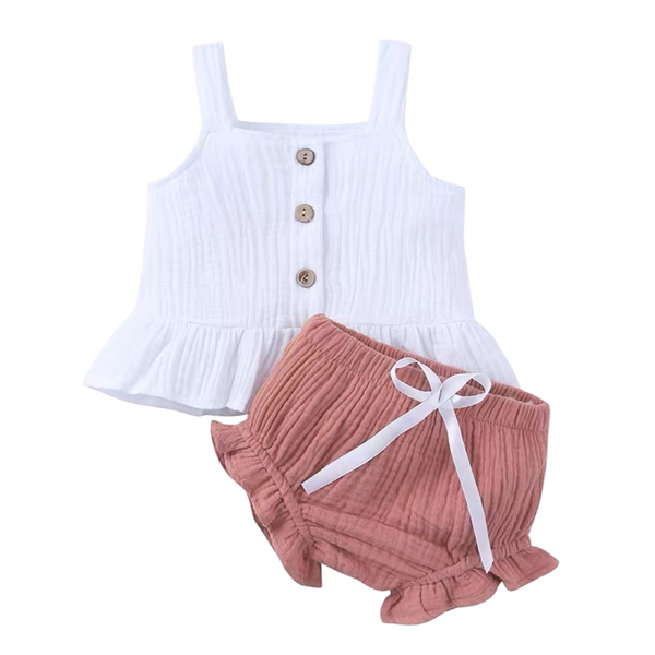 Sweet Strap Blouse Set with Bloomer in White