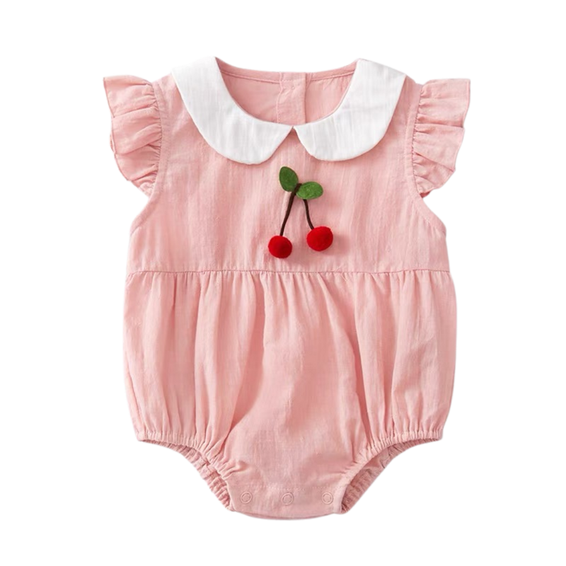 Thea Ruffled Bodysuit Blush Cherry