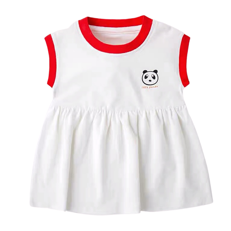 Little Panda Babydoll Dress White