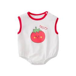 Fruity Sleeveless Bodysuit Tomato