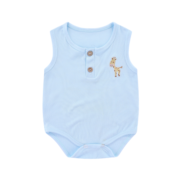 Ribbed Cotton Sleeveless Bodysuit Giraffe