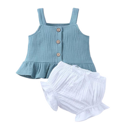 Sweet Strap Blouse Set with Bloomer Teal