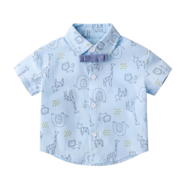 Handsome Safari Collared Shirt Light Blue