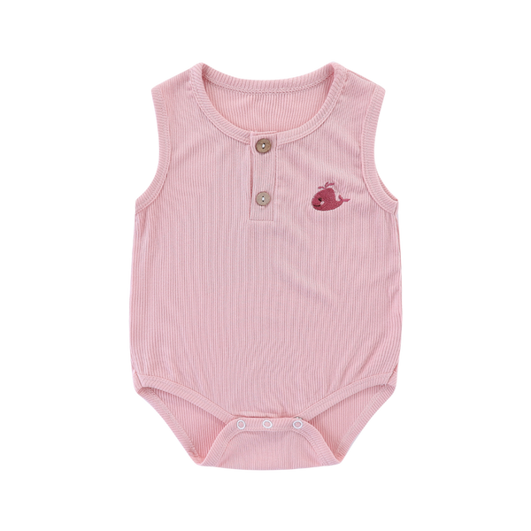 Ribbed Cotton Sleeveless Bodysuit Whale