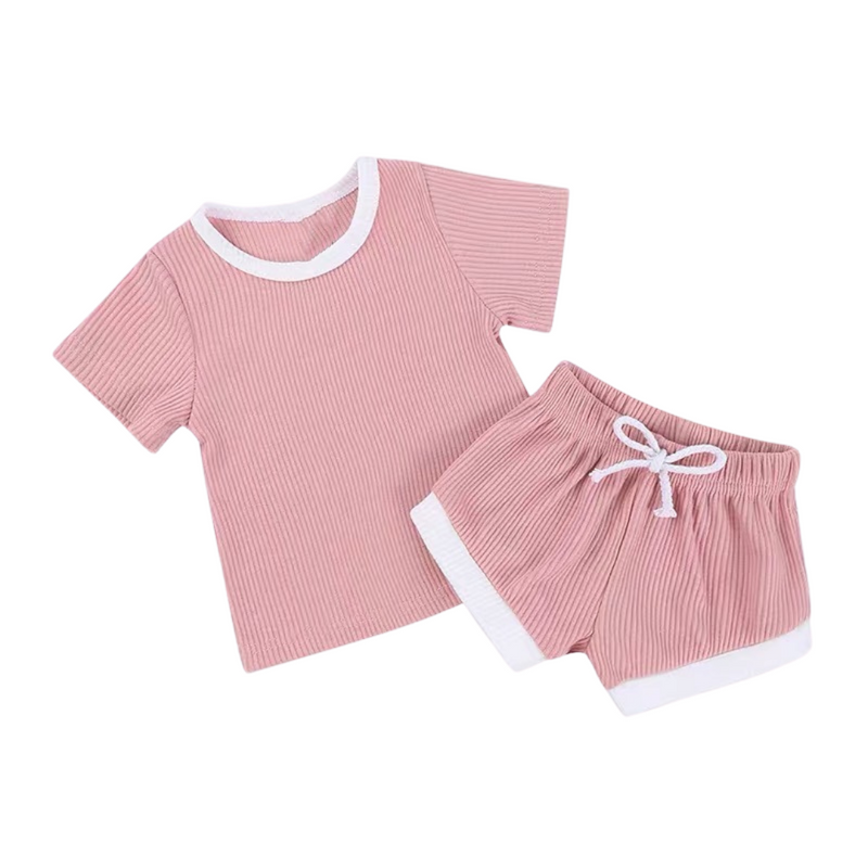 Ribbed Cotton Outdoor Set Blush
