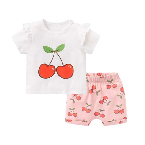 Fruit Tee Shorts Set Cherry
