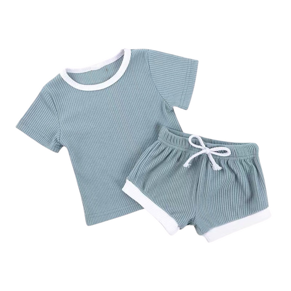 Ribbed Cotton Outdoor Set Teal