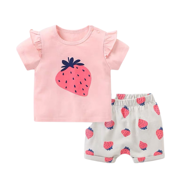 Fruit Tee Shorts Set Strawberry