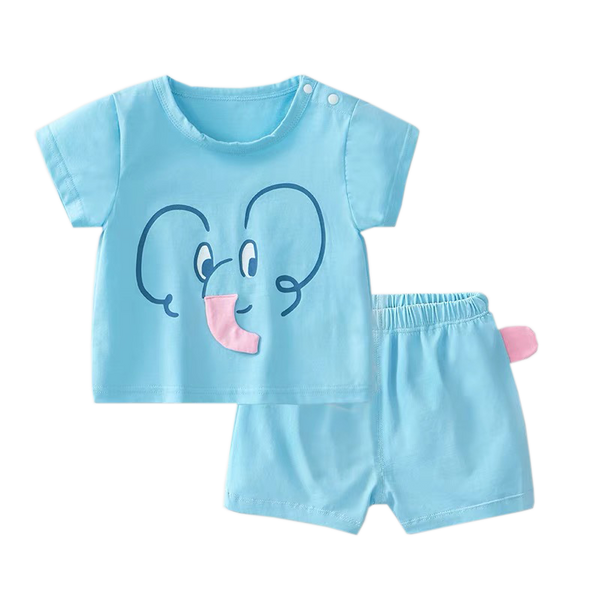 Azure Tee Shorts Set Blue