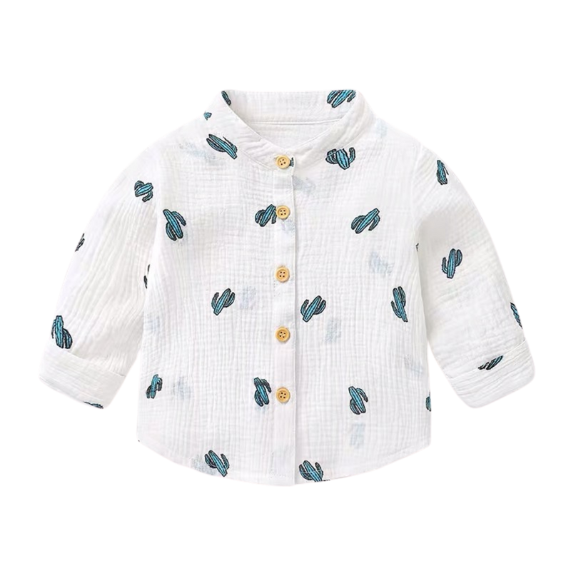 Cactus Mandarin Collar Shirt  White