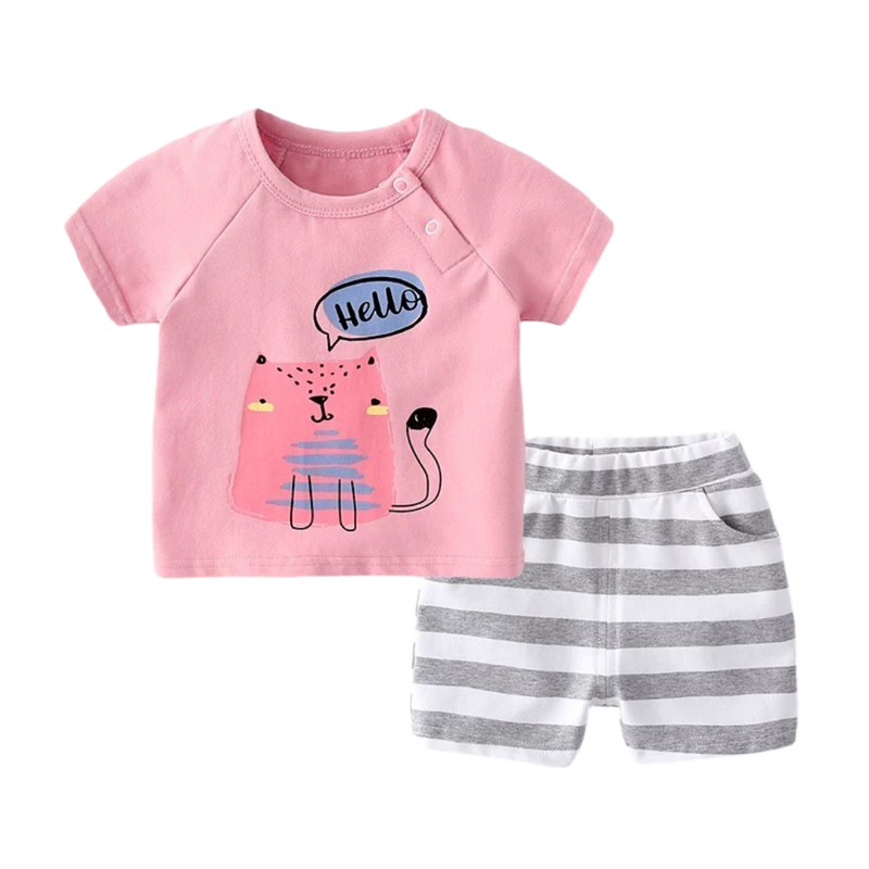 Cotton Soft Tee Set Hello Cat