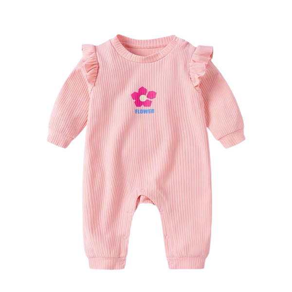 Esme Floral Cotton Sleepsuit Blush
